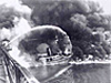 Firefighters battle the 1969 Cuyahoga River fire.