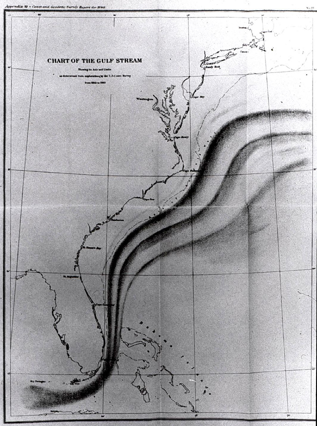 noaa 200th top tens early oceanographic map of the gulf stream