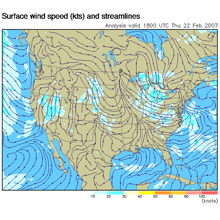 ADDS map showing surface wind speed and streamlines