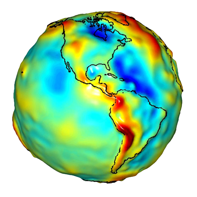 A depiction of the Western Hemisphere geoid