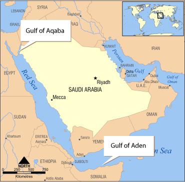 Saudi Arabia Map. Israel and Jordan share a common border at the narrow,
