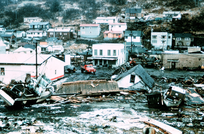 tsunami damage at kodiak alaska following the 1964 good friday earthquake