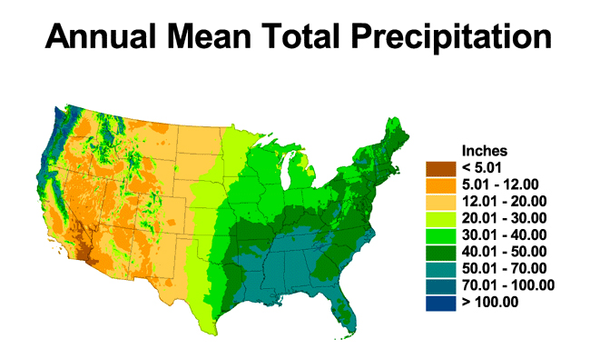 NOAA Th Visions Climate Research Maps Showing Annual - Annual precipitation map us